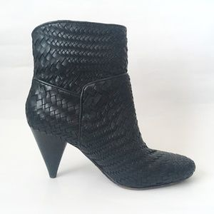 DEREK LAM Dannie Woven Leather Ankle Boot Black